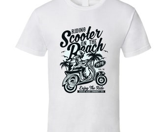 Riding Scooter On The Beach 1978 Enjoy The Ride T Shirt