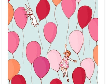 Children's Wall Art Print - Balloons - Girl Kids Nursery Room Decor