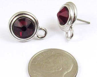 January Swarovski Crystal Birthstone Earring Posts-SIAM RED & SILVER (1 Pair)