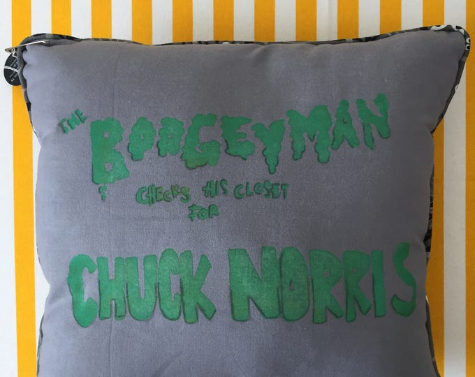 the boogeyman checks his closet for chuck norris pillow in grey