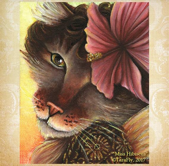 Hibiscus Fairy Cat 8x10 Fine Art Print