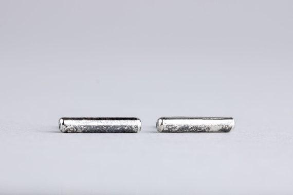 Silver Bar Earrings - Line Earrings - Ear Climber Crawler Earrings - Oxidized Sterling Silver Rustic Post Stud Earrings - Smooth Threads