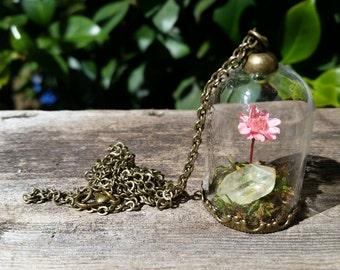 Pink flower and quartz terrarium necklace