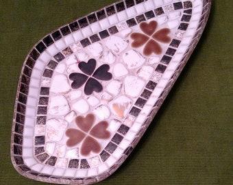 Vintage Mid Century Tile Mosaic Tray-Vintage Ashtray-Trinket Tray-Pocket Change Tray