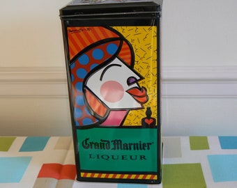 A Very Collectible Tin - Vintage Grand Marnier Container Featuring the Art Work of Romero Britto