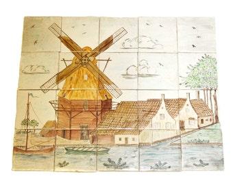 Oriental scenic tile mural