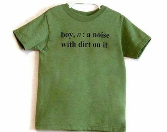 Last one Size 10-12 Boy Definition Screenprinted Children's T-shirt in Green Heather with black ink