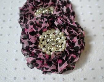 "Cheetah Print Chiffon Flower. Animal Print FLower. 3.5""   1 Flower"