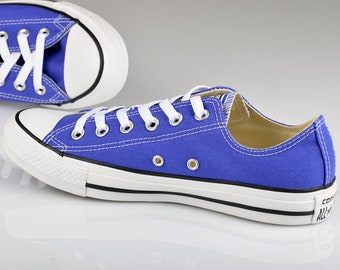 Periwinkle Blue Converse Low Top Ladies Men Wedding Bride Bling w/  Swarovski Crystal Rhinestones Chuck