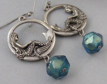 Mermaid Tears,Earrings,Mermaid Earrings,Mermaid,Goddess Earring,Silver Earring, Summer,Boho,Gypsy,Mermaid Necklace.Blu.valleygirldesigns.