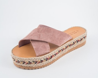 "Espadrilles Leather Sandals-Suede Leather sandals - women's  greek sandals, authentic leather handmade sandals -JUST ARRIVED - ""CALISTI"""