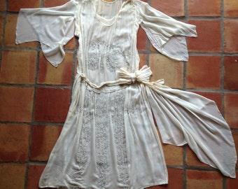50% OFF Sale/ 1920s wedding dress/silk chiffon/beaded/crazy sleeves/belt sash/20s/antique wedding/rare/light cream