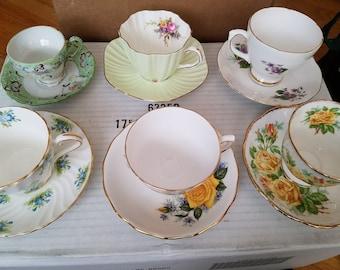Various tea cups and saucers