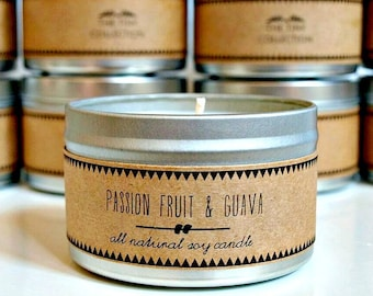 PASSION FRUIT & GUAVA Soy Candle // Bohemian Decor Summer Gift Scented Candles Desk Decor House Warming Gift Minimalist Decor Shabby Chic