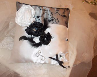 White and Black Lace ring bearer pillow wedding handmade