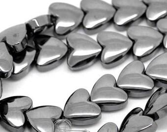 55 hearts, heart, beads, hematite, gemstone, 18928