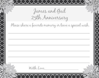 36 - Personalized 25th Anniversary Memory and Wishes Cards  -  Love Blossoms