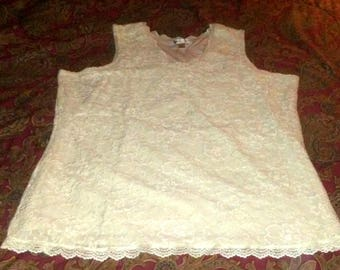 Vintage Coldwater Creek Cream Color Sleeveless Lace Tank Top
