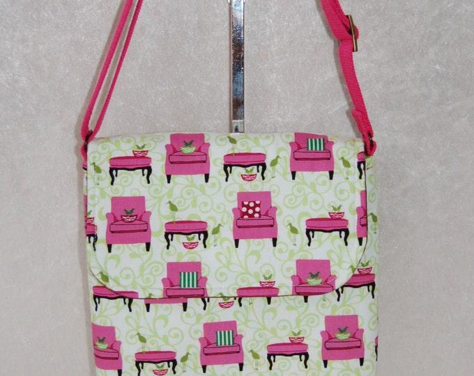 Handmade shoulder bag purse cross body bag The Jane fabric bag Pink Chairs