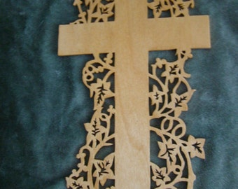 Wooden Scroll Saw Art Cross Wall Hanging Gift Housewarming Easter