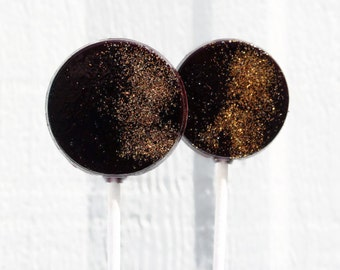Black and Gold  Wedding Favor Lollipops - Flat Round  with Edible Glitter - 30 Lollipop Pack - Wedding Favors, Party Favors, Black Tie Event