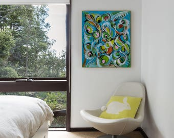 """Original Abstract painting Small painting on canvas - Blue Painting Green Painting - 24"""" x 20"""" - Abstract flowers painting"""