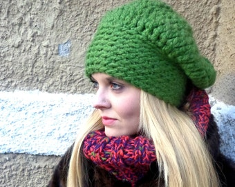 Chunky Hat, Chunky, Hat, Statement Hat, Crochet, Green, Texture Hat, Birdy27