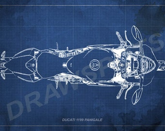 Ducati 1199 Panigale Blueprint, Art Print 8x12in to 60x41in, Motorcycle Art print, big size print, large wall print, office decor