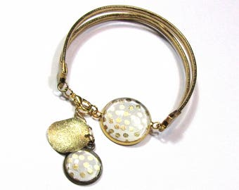 Bracelet cabochons to weight, white and gold leather