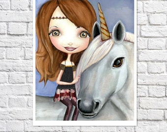 Unicorn Art Print Unicorn & Girl Big Eyed Fantasy Wall Art Little Girl Bedroom Decor Unicorn Wall Art Print Of Painting Cute Unicorn Nursery
