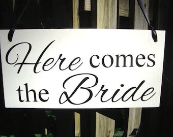 Wedding signs, double sided, HERE COMES the BRIDE, and the lived Happily Ever After, flower girl, ring bearer, photo props, 8x16
