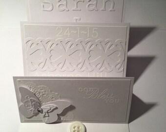 Triple easle wedding card, all white