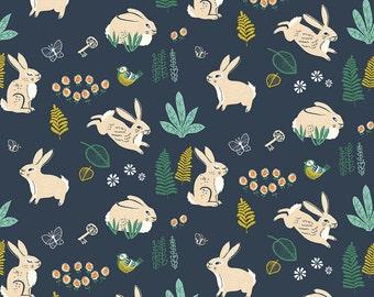 16.50 a Yard Organic Cotton Poplin - The Hidden Garden - Bunny Hop Dusk