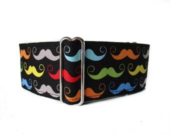 Movember Martingale Collar, 1.5 Inch Martingale Collar, Mustache Martingale Collar, 2 Inch Martingale Collar, Mustache Dog Collar