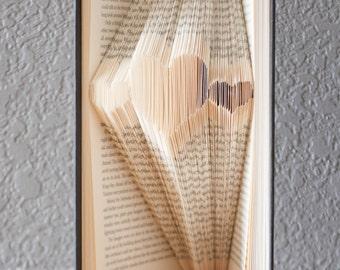 Three Hearts-Folded Book Art- Book Lover-Home Decor