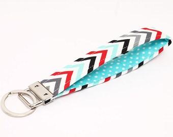 Key fob, chevron fabric keychain wristlet, key strap, blue key lanyard - blue red white chevron stripes with blue and white polka dot
