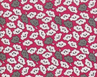 CLOUDS on Fuchsia, Cotton Interlock Knit Fabric, by the FQ 18 x 29 inches