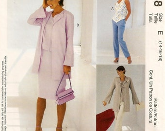 A Flare Sleeve, Long Jacket, Straight Skirt, Straight Leg Pants, & Sleeveless Top Pattern for Women: Uncut - Sizes 14-16-18 ~ McCall's 3098