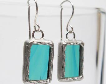 Ocean Marina - Sterling Silber-Glasmalerei-Ohrringe