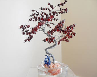 Wire Sculpture tree, Bicycle, Garnet, Home Decor