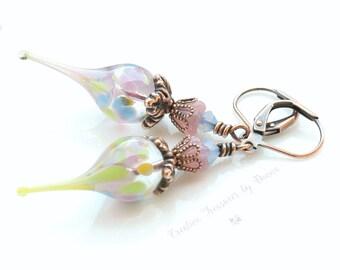 Copper Earrings Lampwork Flower Pods Czech Glass Bell Flowers Swarovski Crystals Flower Earrings Boho Earrings