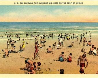 Florida Beach Gulf of Mexico Sun Bathers Vintage Postcard (unused)