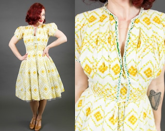 1950s R&K Originals Yellow and White Floral Print Sundress - Size Small | 50s Summer Dress | Cotton Day Dress | Fit and Flare Dress
