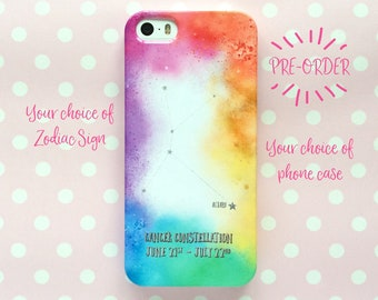 Zodiac constellation phone case - rainbow clouds - available for most iPhone and Samsung Galaxy models - personalised snap-on phone case