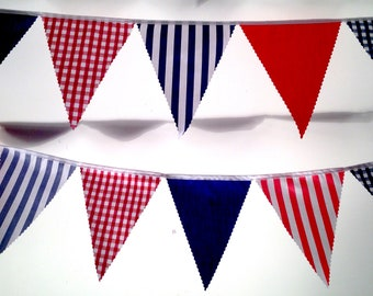 Nautical Bunting, red white and blue stripes and gingham, ideal for weddings Baby Showers Choose your own length from 1 meter
