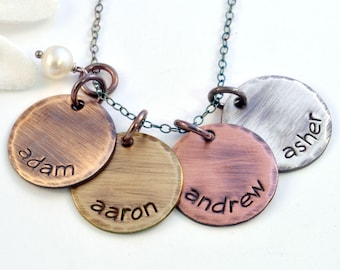 Mixed Metals Mommy Necklace - Name Necklace - Mother's Necklace - Charm Necklace for Mom - Handstamped