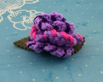 Crocheted Rose Hair Clip - Lavender, Sparkly Purple, and Hot Pink (SWG-HC-MPTS01)