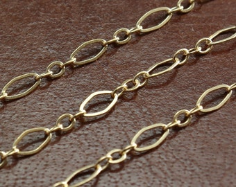 Gold Filled Chain Bulk - Flat Oval Long and Short Chain 4.5mm x 2.5mm - Select Lengths 5-10% off