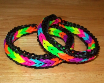 Rainbow Loom Rubber Band Bracelets, Fishtail with Border, Neon Rainbow Colors and Black, Set of 2