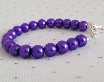 Purple Pearl Wedding Bracelet, Purple Wedding, Purple Pearl Beaded Jewelry, Mother of the Bride Gift, Bridal Party Jewelry, Bridesmaid Gift